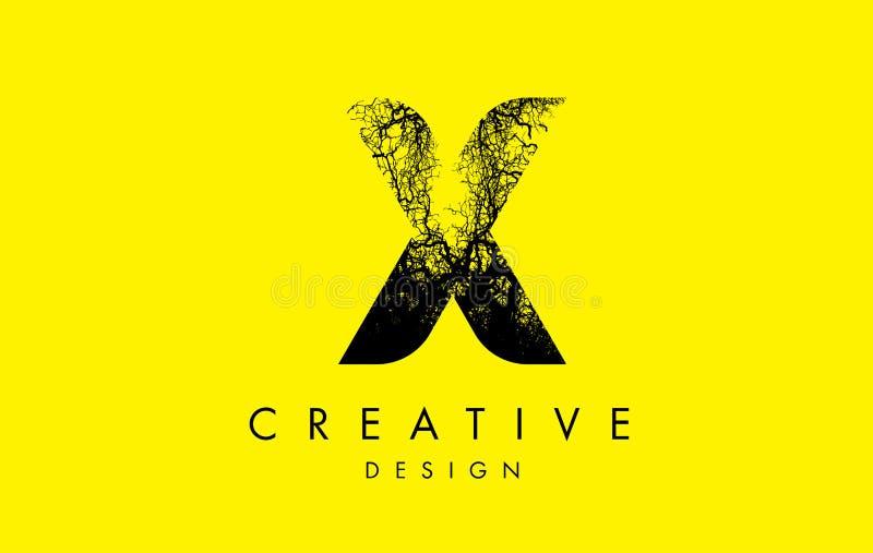 X Logo Letter Made From Black-Boomtakken vector illustratie
