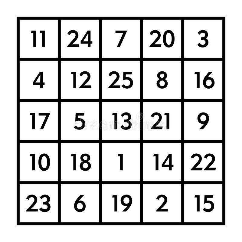 4x4 Magic Square With Sum 34 Of Planet Jupiter Stock Vector