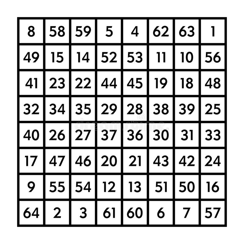 5x5 Magic Square With Sum 65 Of Planet Mars Stock Vector