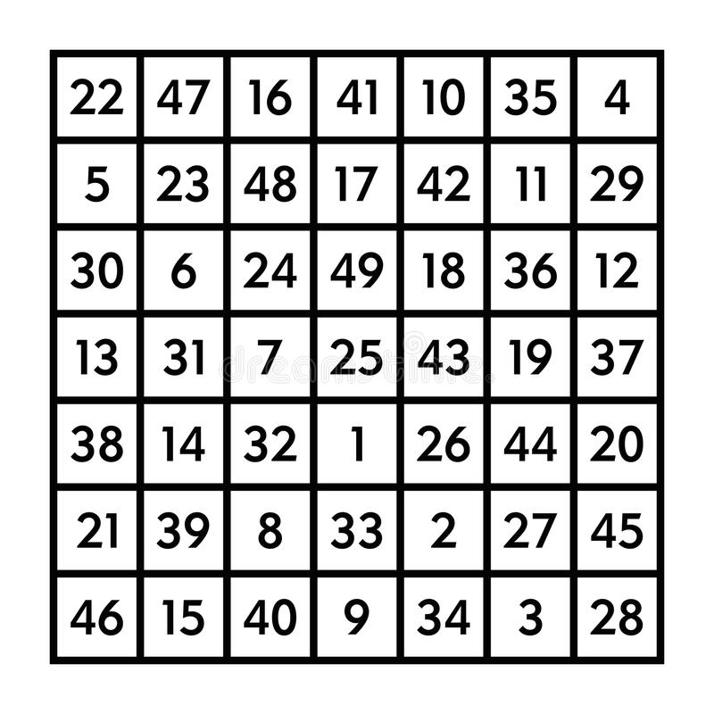 9x9 Magic Square With Sum 369 Of The Moon Stock Vector