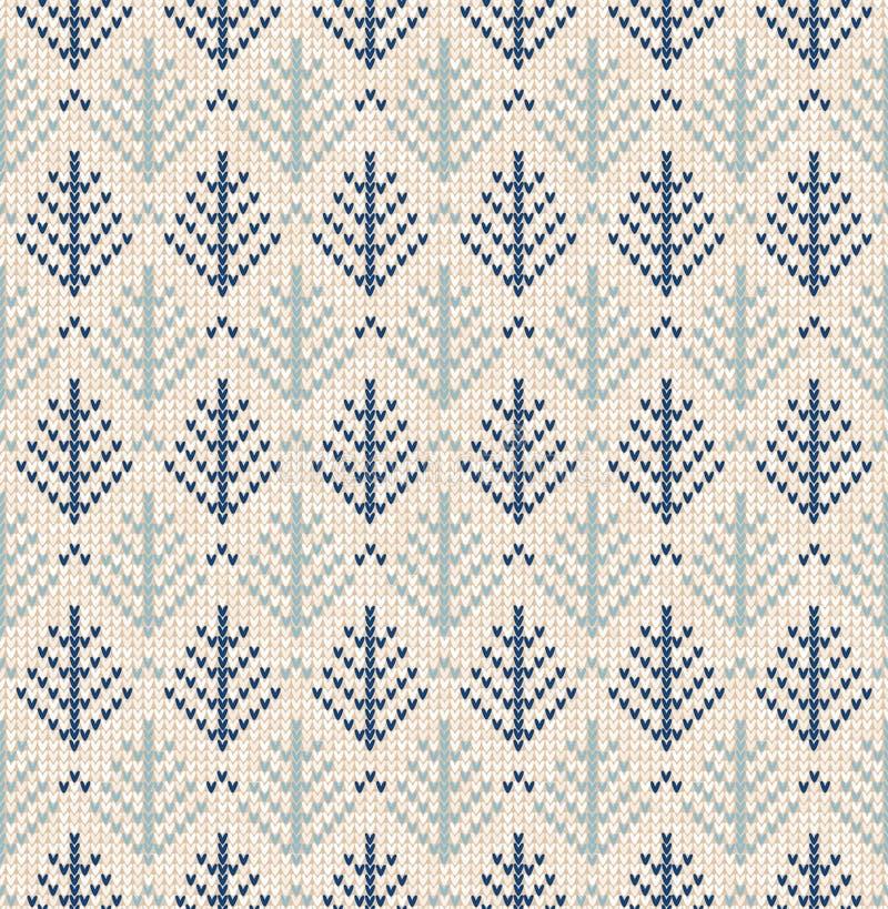 X-mas рождественской елки зимы вяжет безшовный связанный абстрактный фон предпосылки Вязать картина ели Вязать зимы плоско иллюстрация вектора