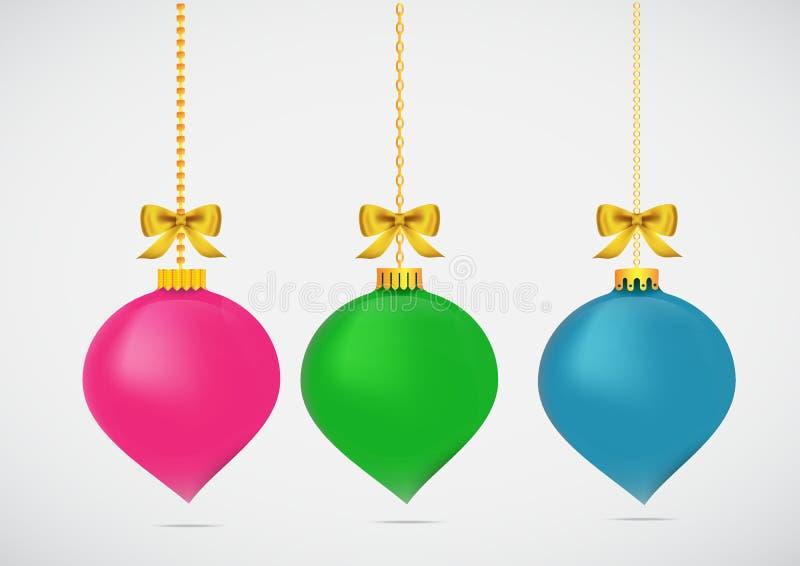 X-mas da bola do Natal e ano novo feliz ilustração do vetor