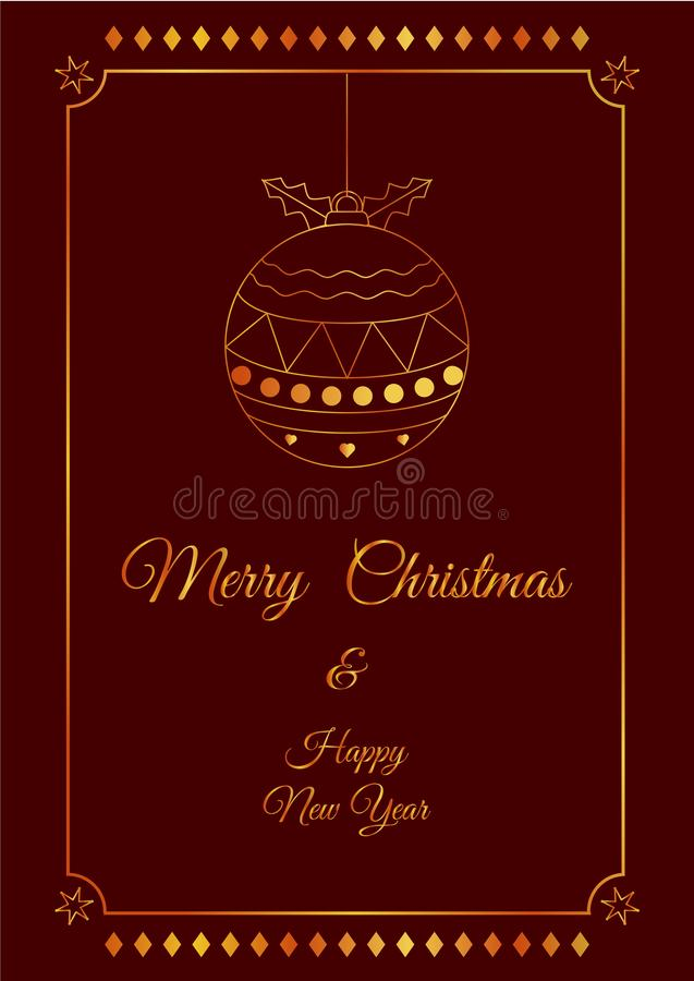 X`mas gold cute fancy ball red card royalty free stock image