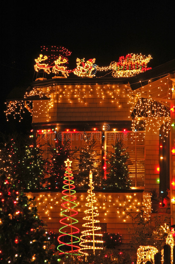 X-mas Lights Overkill. Royalty Free Stock Image