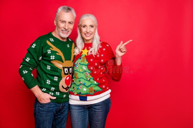 X-mas time hot discounts concept. Photo of two style confident excited charming cheerful positive people making choice stock photo