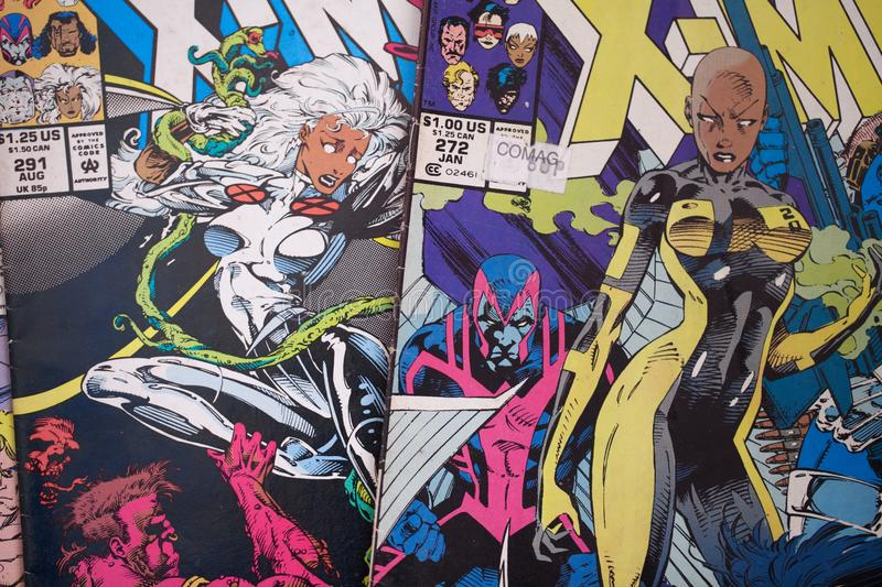 The X-Men comic book covers published by Marvel Comics. X-men comic books published by Marvel Comics also made into live action feature films by 20th Century Fox stock illustration
