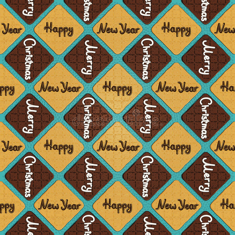 Merry Christmas & Happy New Year - cookies pattern stock photo