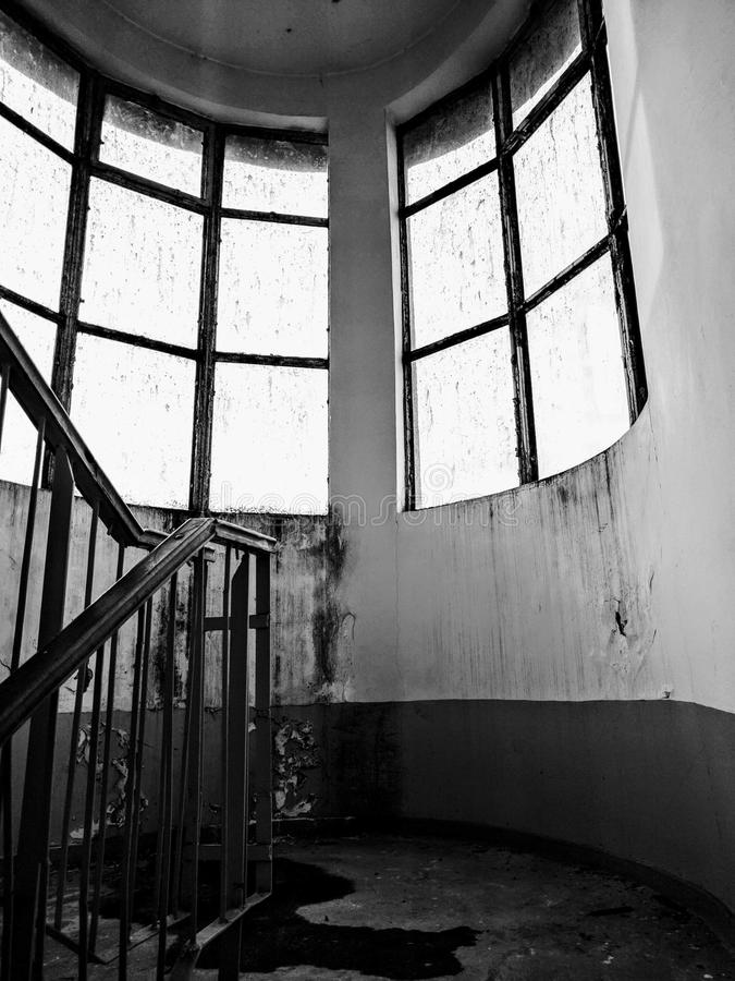 Decaying stairway. A & x22;murder& x22; scene royalty free stock image