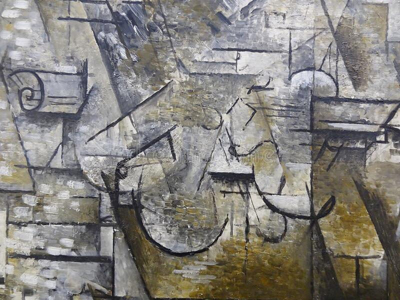 """Nature morte au violon"" (détail), Georges Braque, 1911. Centre Pompidou, Paris. royalty free stock image"
