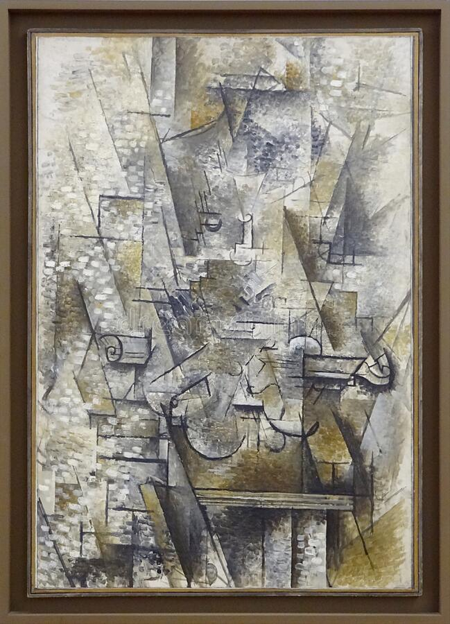 """Nature morte au violon"", Georges Braque, 1911. Centre Pompidou, Paris. stock photos"