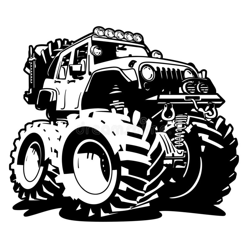 4x4 Off Road Black and White Cartoon Isolated Vector Illustration stock image