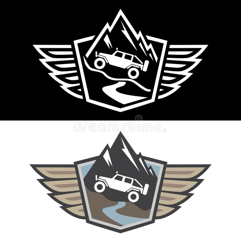 4x4 Offroad Adventure Isolated Vector Illustration in both Color and Black and White stock photos