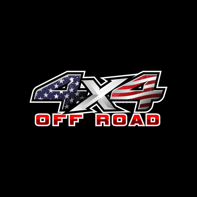 4x4 offroad with American flag type logo vector template. For truck club and outdoor sport royalty free illustration