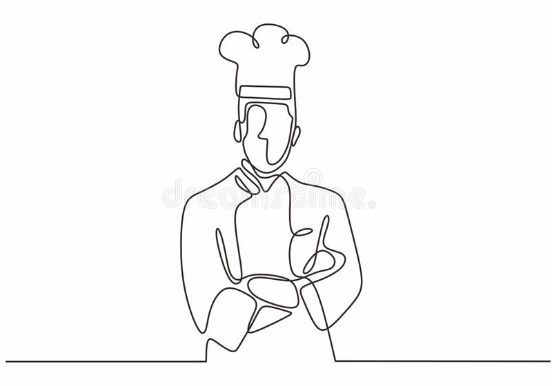 & x22;one line drawing of confident chef standing vector illustration. Food, kitchen, cooking, restaurant, isolated, graphic, outline, cafe, cuisine, work stock illustration