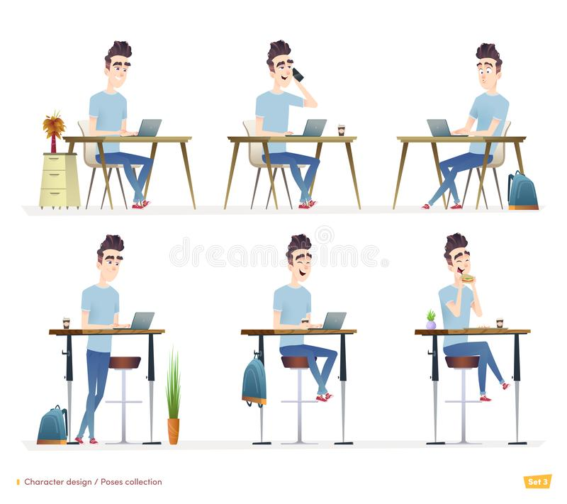 Young professional man working at his desk at home, in a cafe or office. Freelancer works. vector illustration