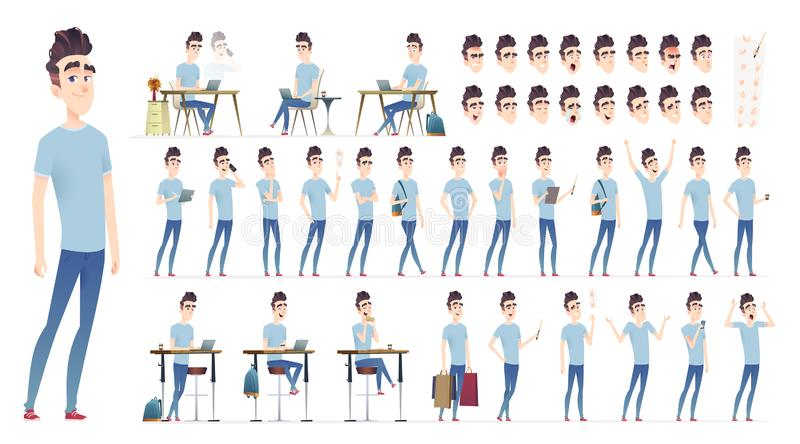 Young man character collection. Set of different poses and situation. Modern flat cartoon style. stock illustration