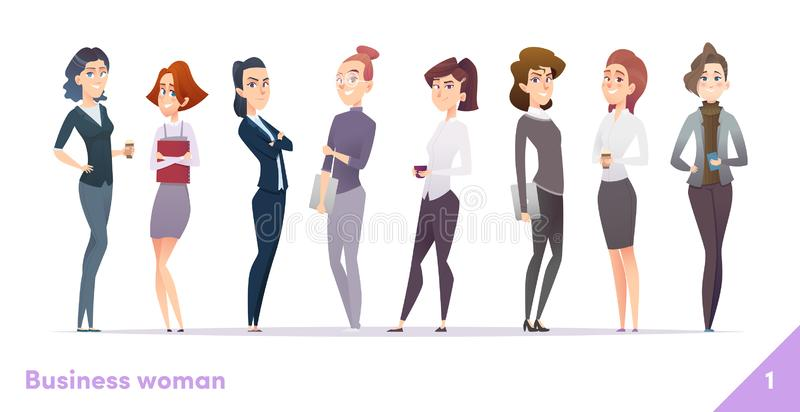 Business women character design collection. Modern cartoon flat style. Females stand together. Young professional females poses. royalty free illustration