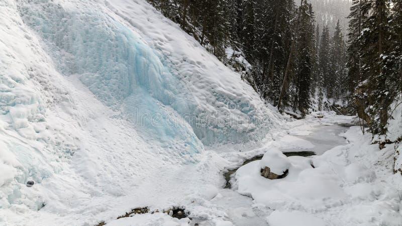 16x9 panoramy fotografia zamarznięty Górny Johnston Spada w Johnston jarze zdjęcia royalty free