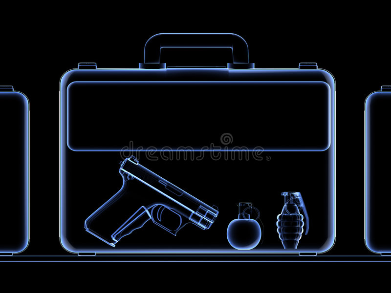 X-ray. Of a suitcase full of weapons