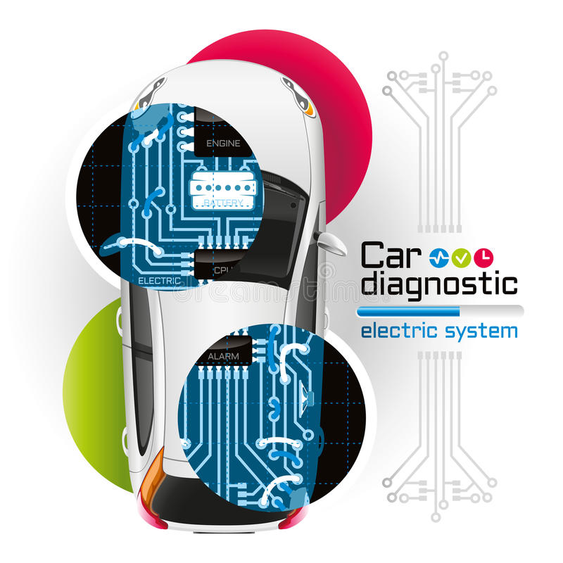 X-ray Car Diagnostic Of Electric System Stock Vector
