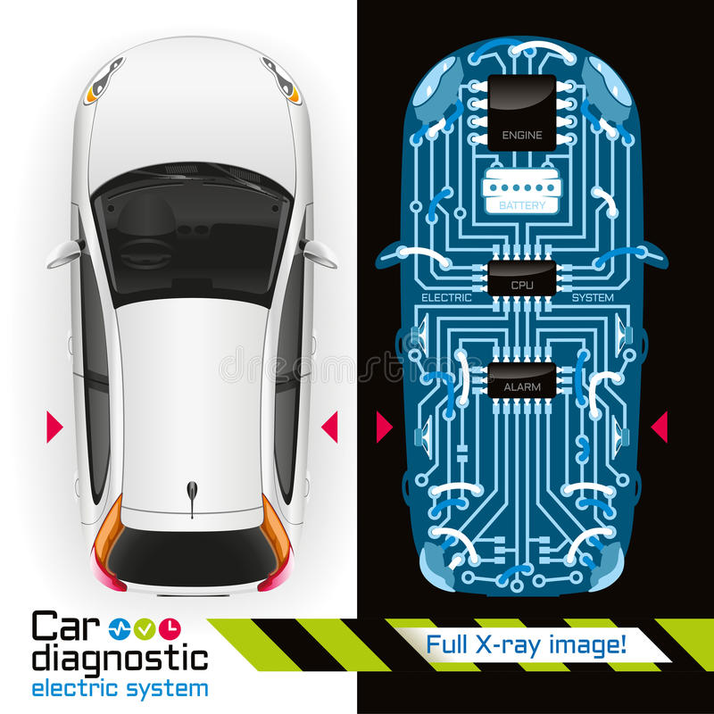 X-ray Car Diagnostic of Electric System vector illustration