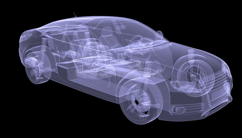 X-ray concept car. Isolated render on a black background stock illustration
