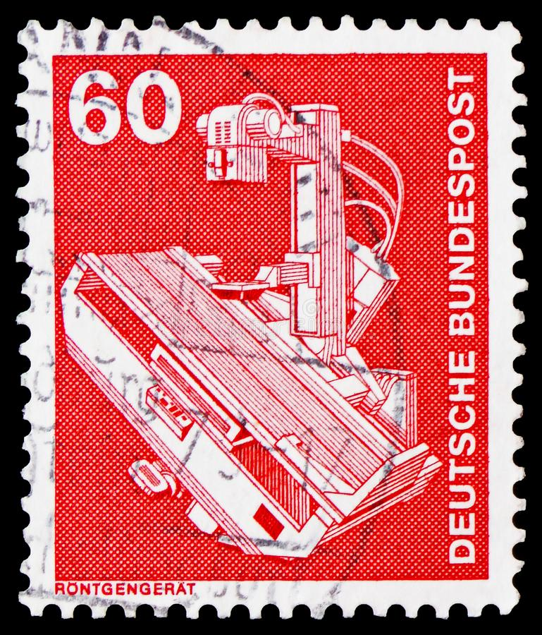 X-ray device, Industry and Technology Definitives 1975-1982 serie, circa 1978. MOSCOW, RUSSIA - FEBRUARY 20, 2019: A stamp printed in Germany, Federal Republic royalty free stock image