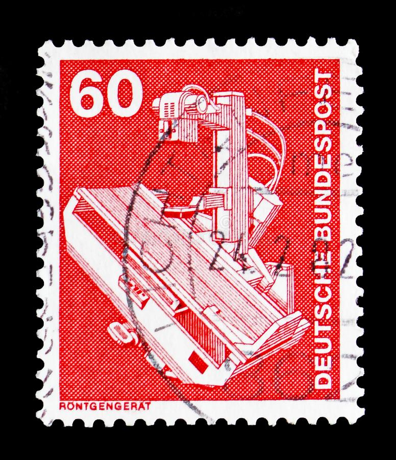 X-ray device, Industry and Technology Definitives 1975-1982 serie, circa 1978 stock images