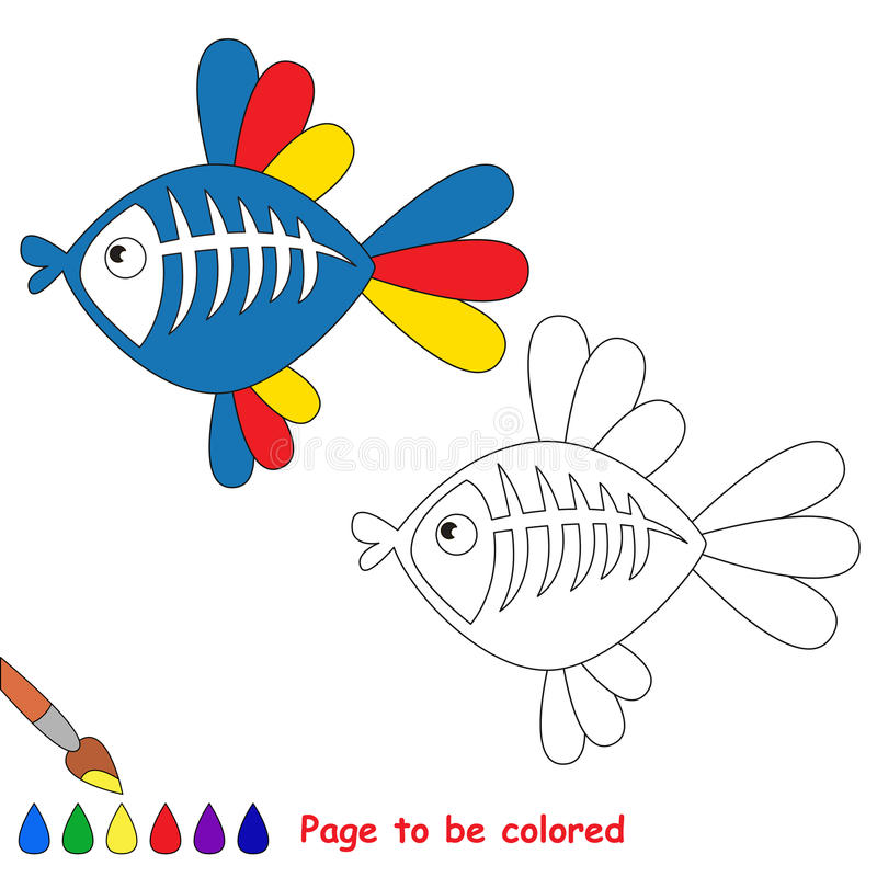 X-ray fish cartoon. Page to be colored. X-ray fish to be colored. Coloring book for children. Visual game royalty free illustration