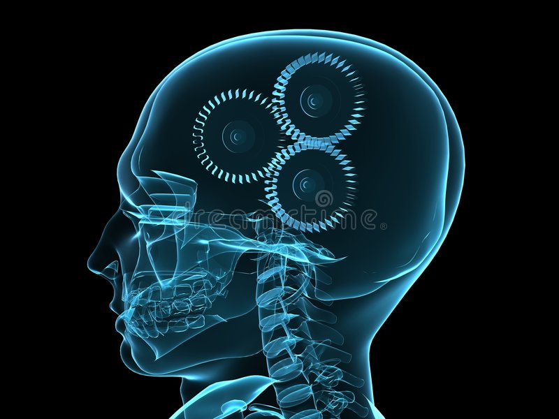 X-ray Head With Gears Royalty Free Stock Photography