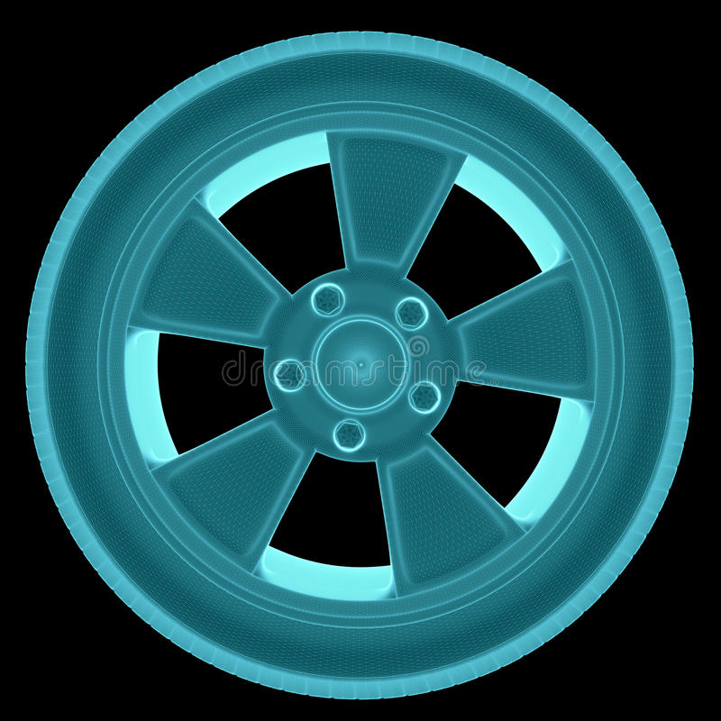 X-Ray Image Of Car Wheel vector illustration