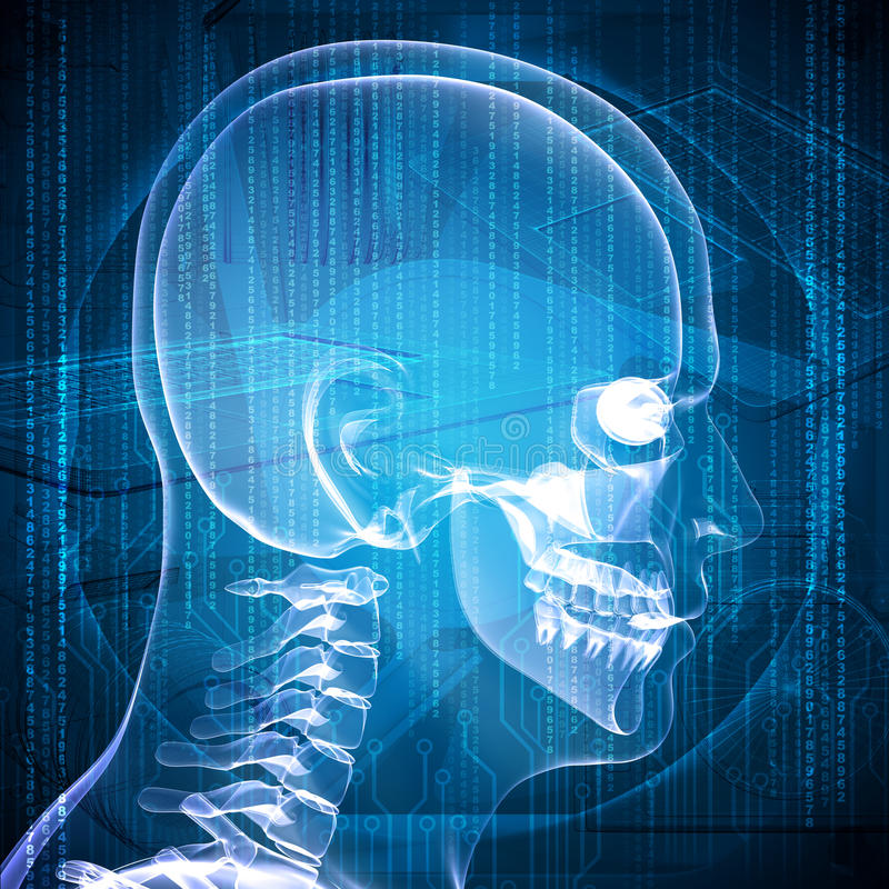 X-ray image of a man's head. Graphics and communication in the background royalty free illustration