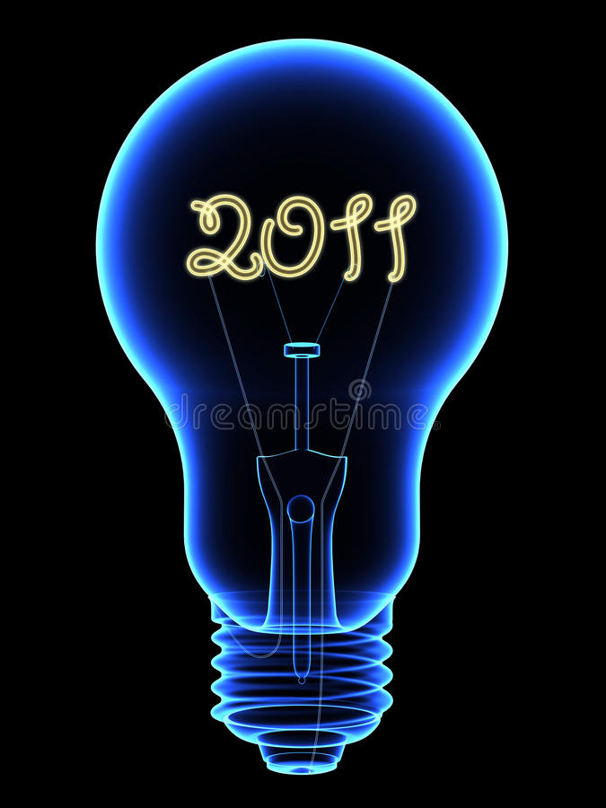 X-Ray Lightbulb With Sparkling 2011 Digits Inside Royalty Free Stock Images