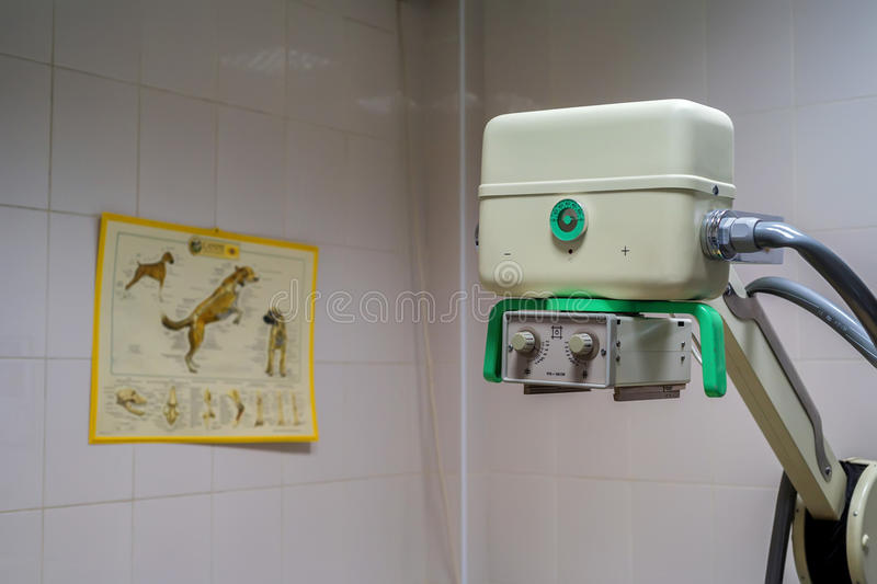 X-ray machine in veterinary hospital royalty free stock photos