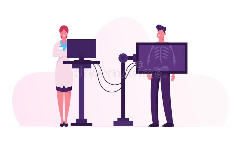 X-ray Medical Diagnostics Bones Skeleton Checkup. Radiology Body Scanner Equipment for Patient Disease, Doctor Research. Injury and Trauma on Scan Image for stock illustration