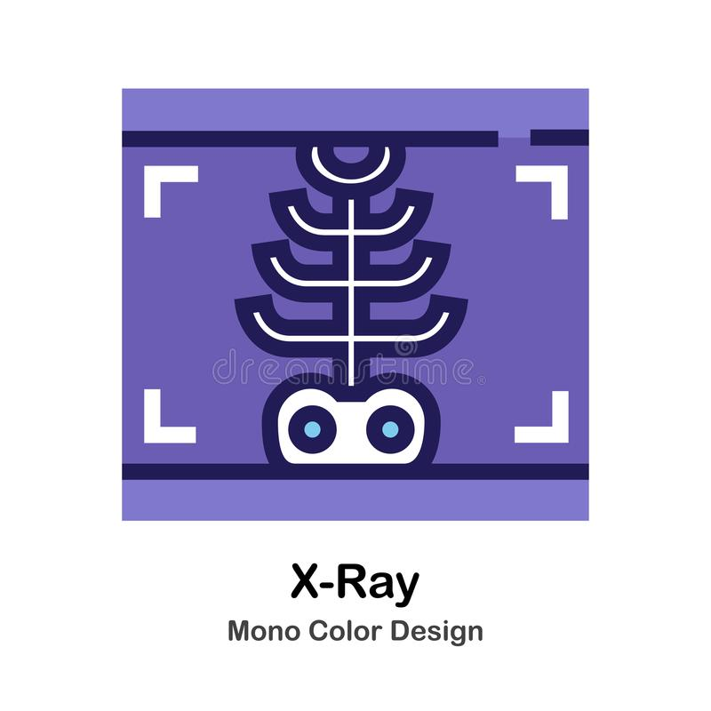 X-Ray mono color icon. X-Ray Film mono color icon in flat design illustration royalty free illustration