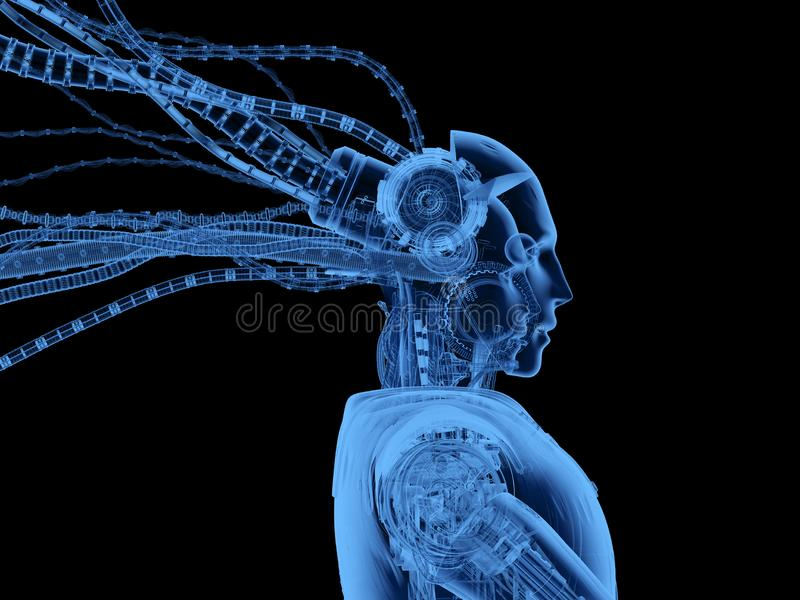 X-ray obot with wires isolated. 3d rendering x-ray humanoid robot with wires isolated on black stock illustration