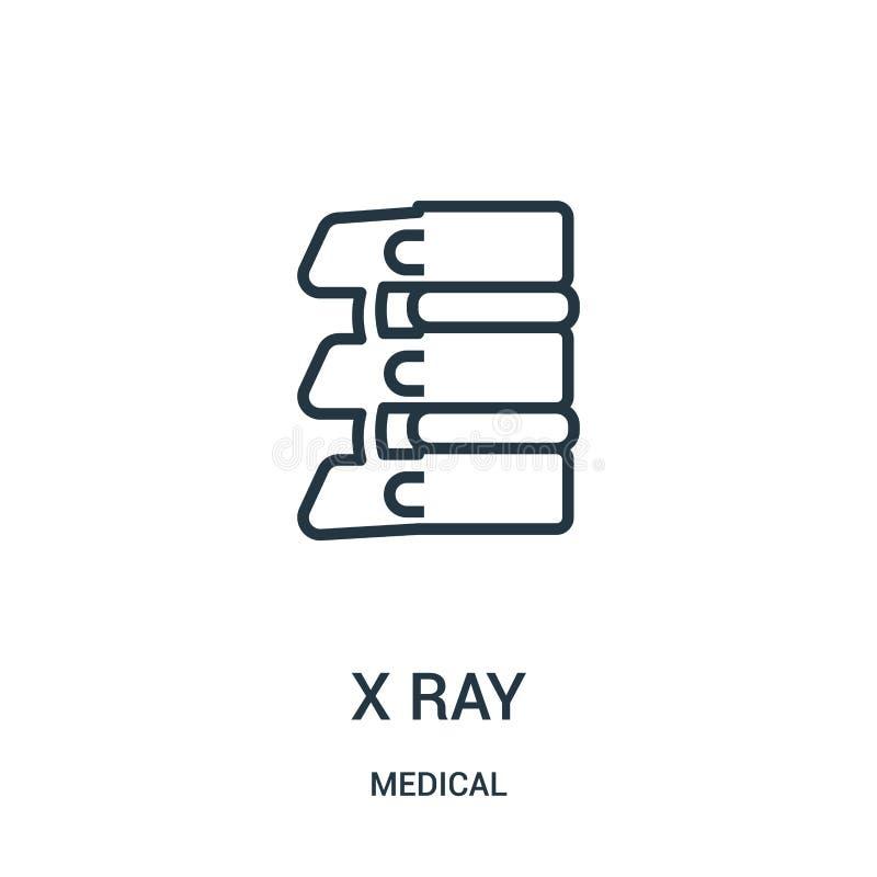 x ray pictogramvector van medische inzameling Dunne het pictogram vectorillustratie van het lijn x ray overzicht Lineair symbool  vector illustratie