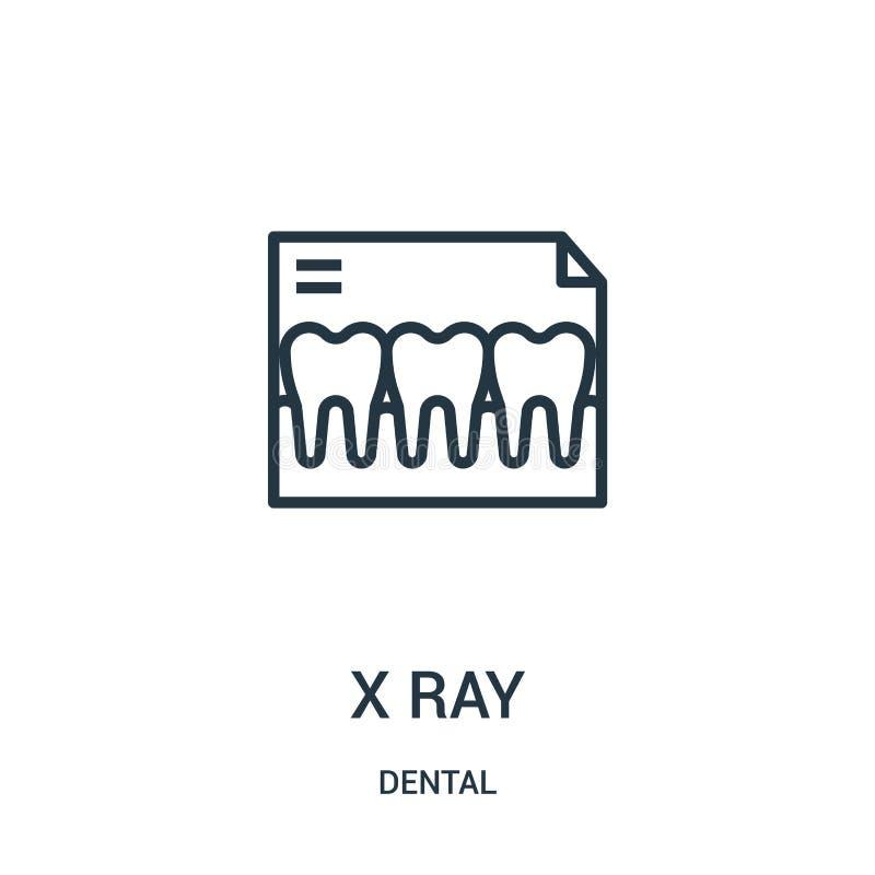 x ray pictogramvector van tandinzameling Dunne het pictogram vectorillustratie van het lijn x ray overzicht Lineair symbool vector illustratie