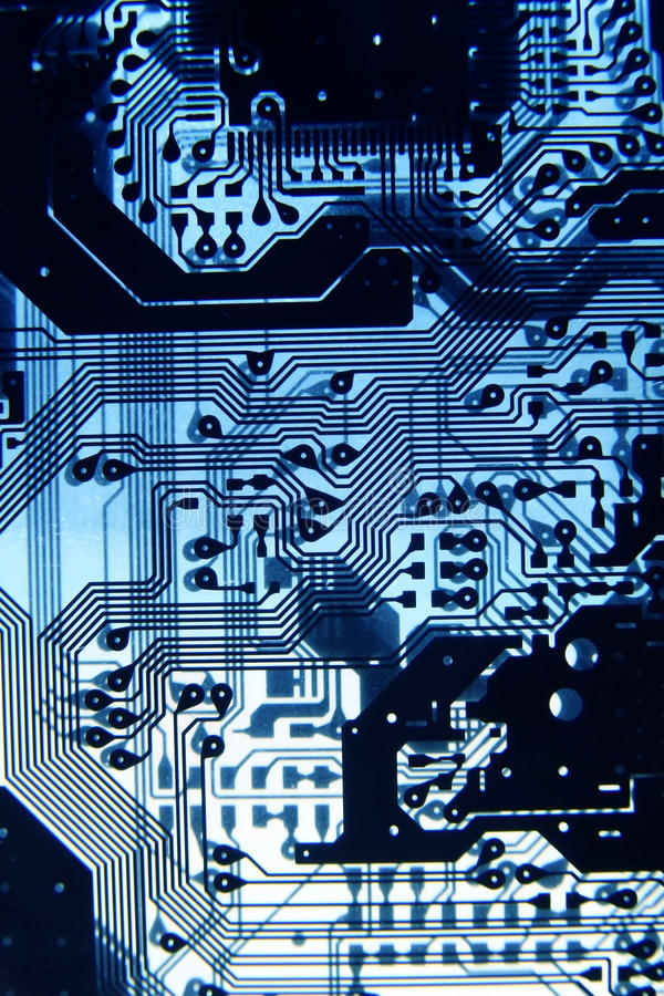 X-Ray printed circuit4. X-Ray printed PCB circuit as blue light royalty free stock photography