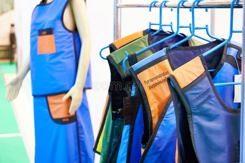 X-ray protective clothing at exhibition. X-ray protective clothing for doctors at the exhibition royalty free stock photo