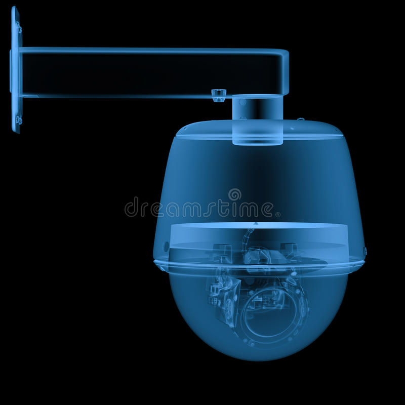 X ray security camera or cctv camera. 3d rendering x ray security camera or cctv camera isolated on black royalty free illustration