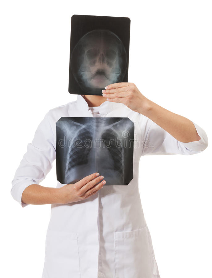 X-ray specialist. On isolated white royalty free stock image