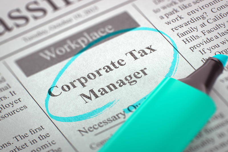 We're Hiring Corporate Tax Manager. 3D. stock image
