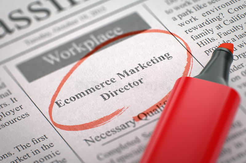 We're Hiring Ecommerce Marketing Director. 3D. royalty free stock image
