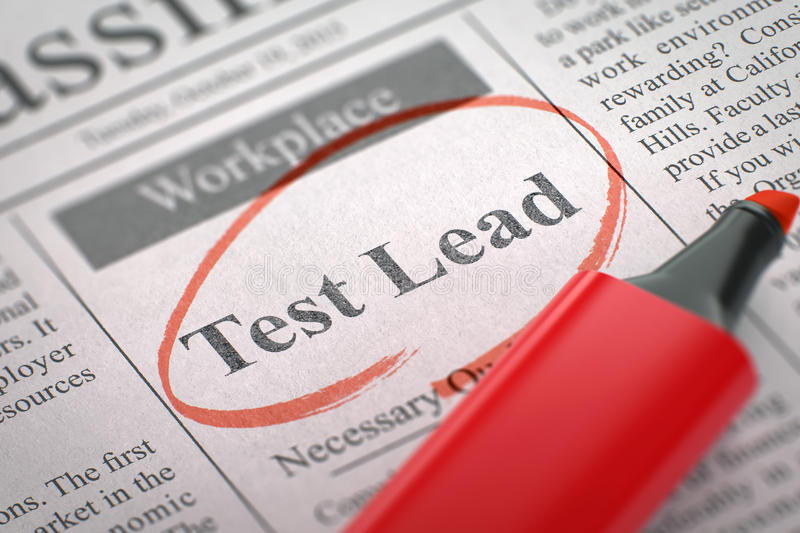 We're Hiring Test Lead. 3D. stock photos