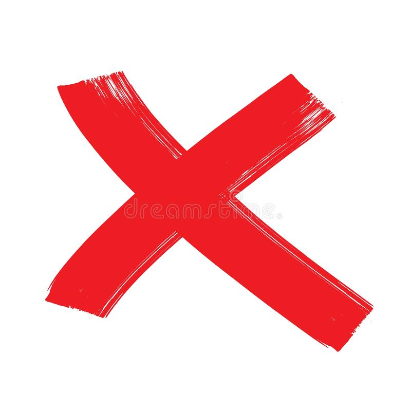 Free X Red Mark. Cross Sign Graphic Symbol. Crossed Brush Strokes. Stock Images - 154904254