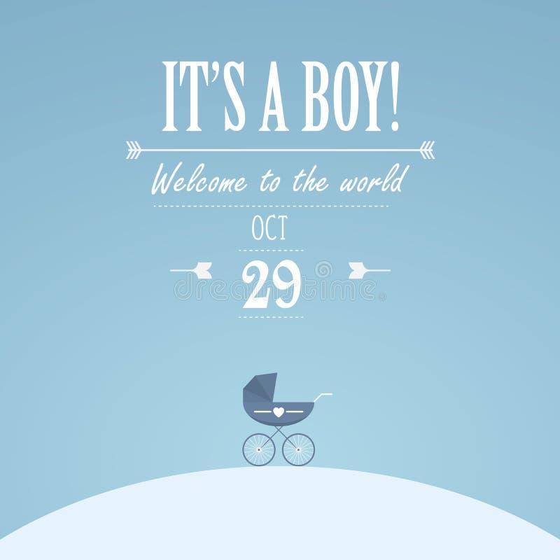 It& x27; s en pojkeinbjudan för baby shower Klassisk blick för tappning med den retro sittvagnen Idérik typografitext royaltyfri illustrationer