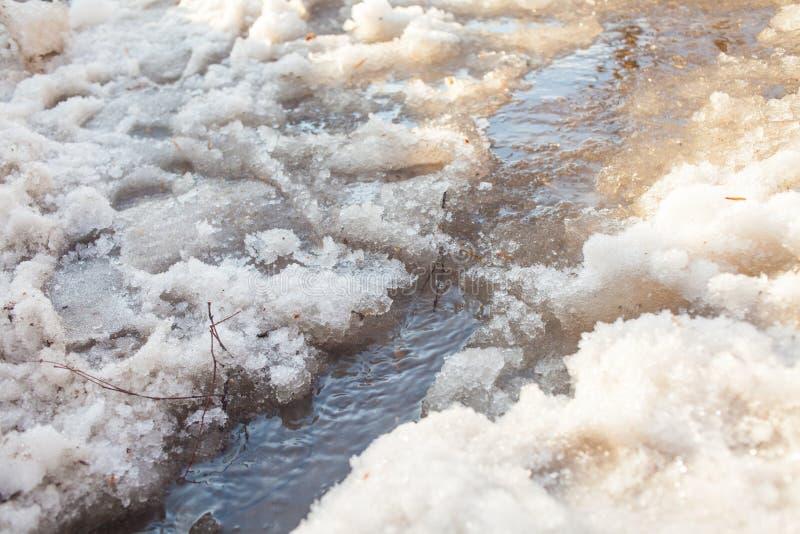 It& x27; s-Fr?hling Schneeschmelzen, Ströme des Wassers von schmelzendem Schnee lizenzfreies stockfoto