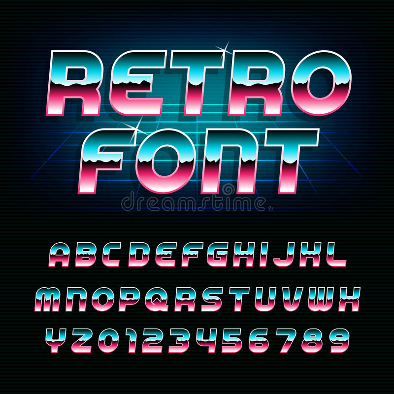 80's retro alphabet font. Metallic effect shiny oblique letters and numbers. Vector typeface for flyers, headlines, posters etc stock illustration